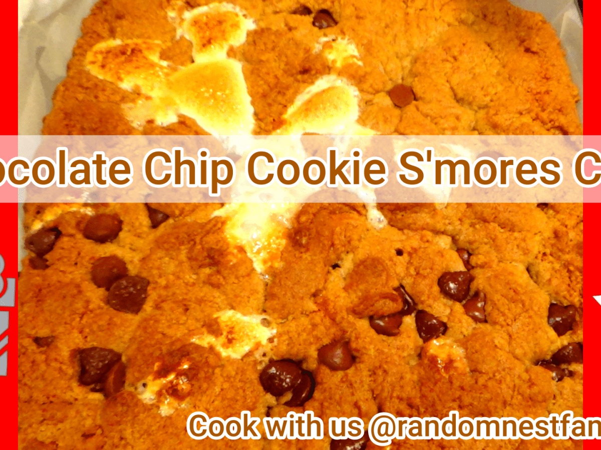 Chocolate Chip Cookie smores cake @randomnestfamily.org