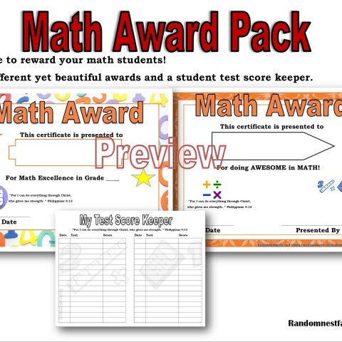 Math award pack @randomnestfamily.org