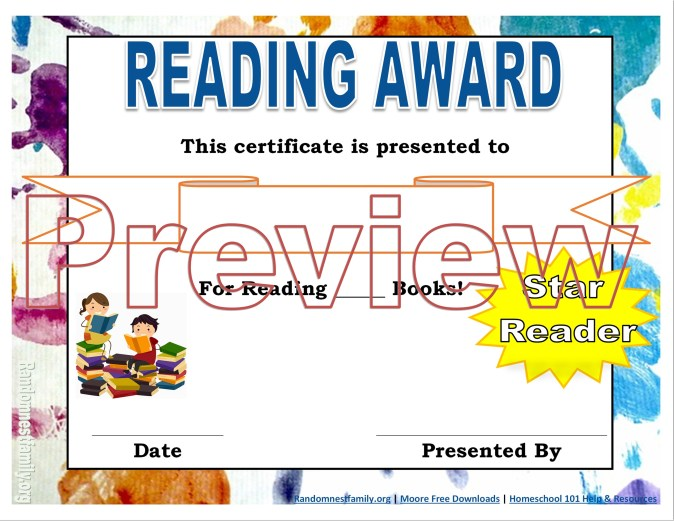 Reading award @randomnestfamily.org