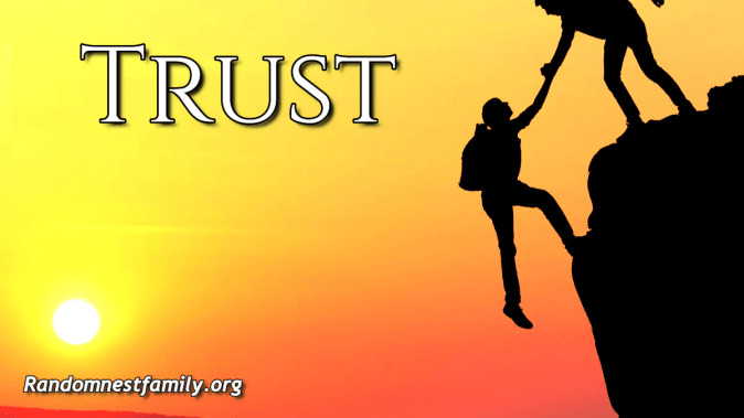 Trust. One person pulling another up on a mountain @ randomnestfamily.org