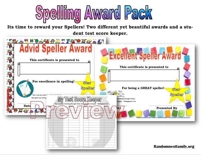 Spelling award @randomnestfamily.org