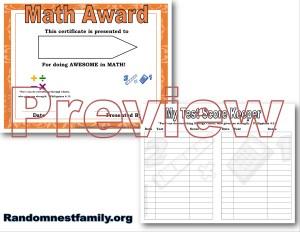 Math award previews at Randomnestfamily.org