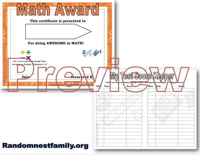 Math award previews at Randomnestfamily.org