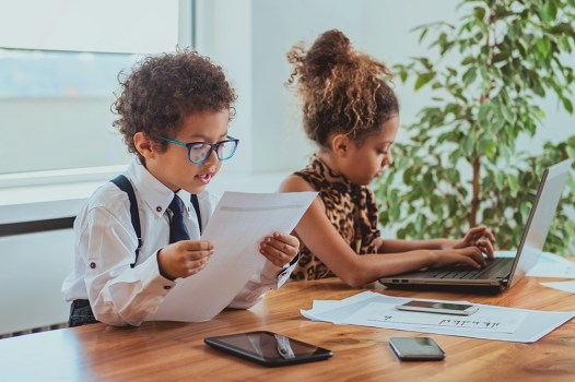 Job skills for kids, children working at home