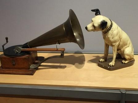 RCA Megaphone and dog statue