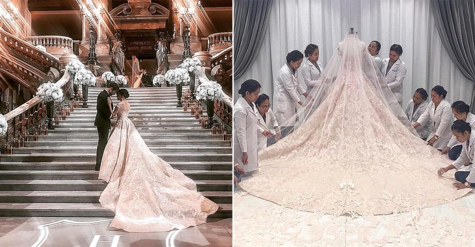LOOK Vicki Belo Weds Hayden Kho In Paris In A Michael Cinco Wedding Dress