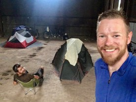 Camping in the warehouse opposite