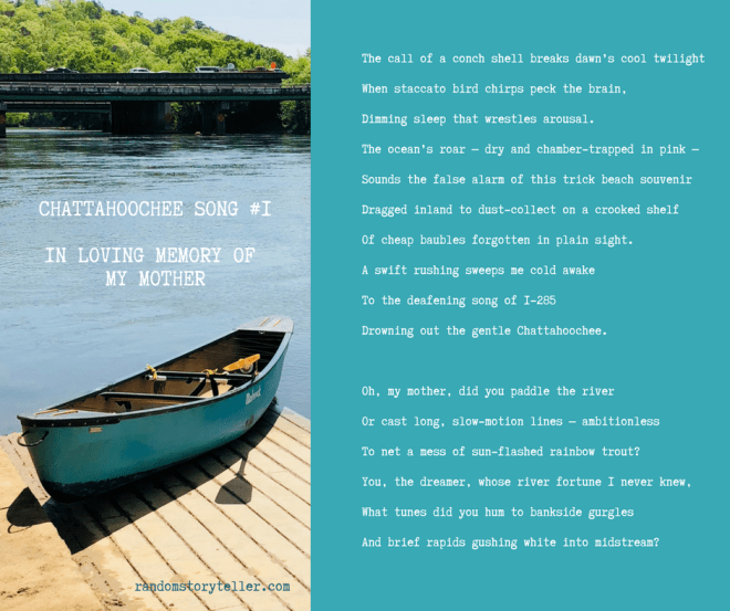 Chattahoochee Song #1_ poem by randomstoryteller chamrickwriter with image of boat and I-285 crossing Chattahoochee River
