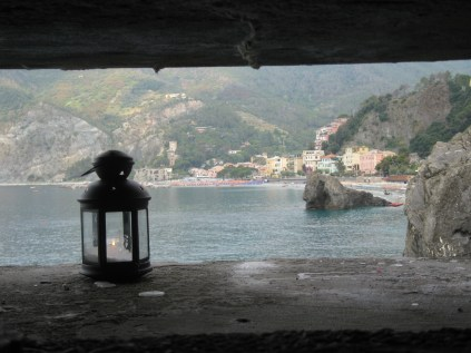 View from inside the German pillbox in the harbour at Monterosso.