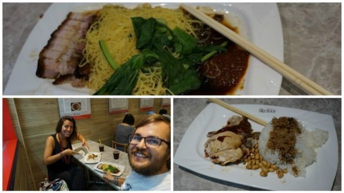 'Roasted Pork Noddles' y 'Hong Kong Soya Sauce Chicken Rice' en el Hawker Chan