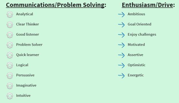 Communications/Problem Solving & Enthusiasm/Drive