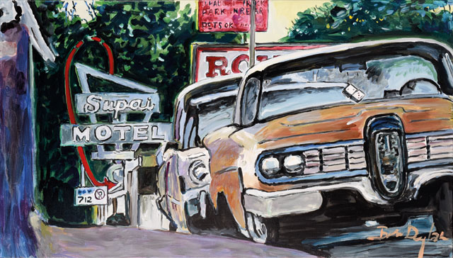"""""""Classic Car Show, Cleveland, Ohio, 2015–2016."""" Acrylic on canvas, 71.1 x 121.9 cm. 
