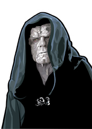 Emperor Palpatine Foil-For Topps Star Wars Galaxy 5 My Star wars Art was featured in a 15 card FOIL subset. These were considered chase cards. Each card was printed on Bronze, Silver, Gold and Prismatic Foil.