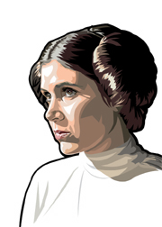 Princess Leia Foil-For Topps Star Wars Galaxy 5 My Star wars Art was featured in a 15 card FOIL subset. These were considered chase cards. Each card was printed on Bronze, Silver, Gold and Prismatic Foil.