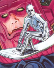 Silver Surfer-Offical Marvel Sketch Card. Marker and Colered pencil 4 X 5