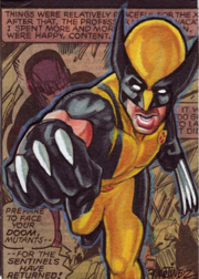 Wolverine-Marker and Colered pencil collage sketch card 2.5 X 3.5