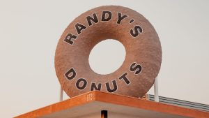 Closeup of Randy's Donuts giant rooftop donut