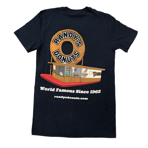 Randy's Donuts Dark Blue T-Shirt with Randy's original location design on back