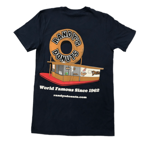 Randy's Donuts Dark Blue T-Shirt with Randy's original location design on back