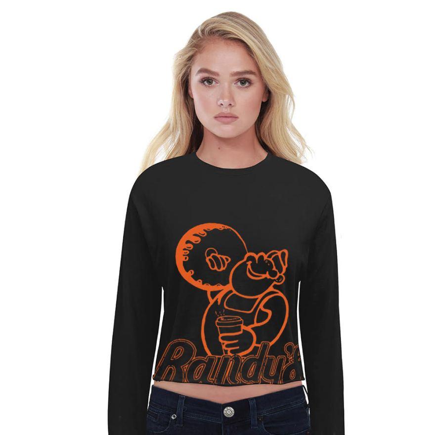 Randy's Donuts Black Long-Sleeve Crop T-Shirt