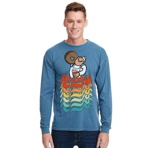 Randy's Donuts Blue Denim-Colored Long-Sleeve T-Shirt