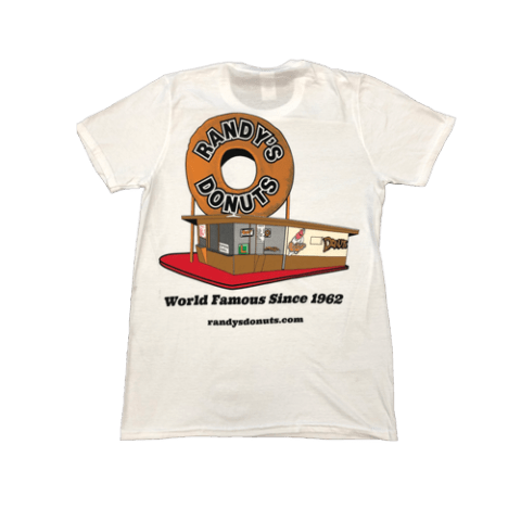 Randy's Donuts White T-Shirt with Randy's original location design on back