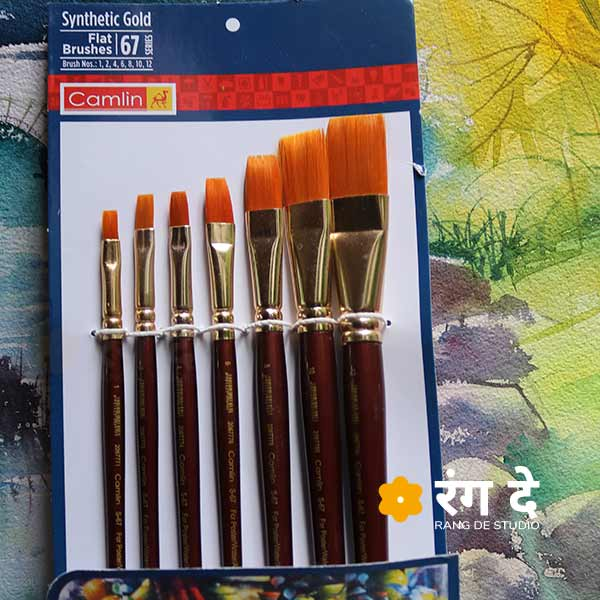 Buy Synthetic Gold Round Brushes by Camlin online from Rang De Studio, Made for professional painters, less expensive and competitive quality.