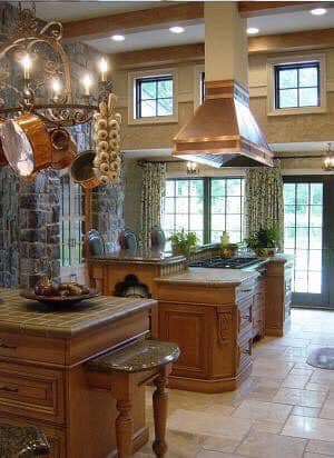 beautiful kitchen with a range hood