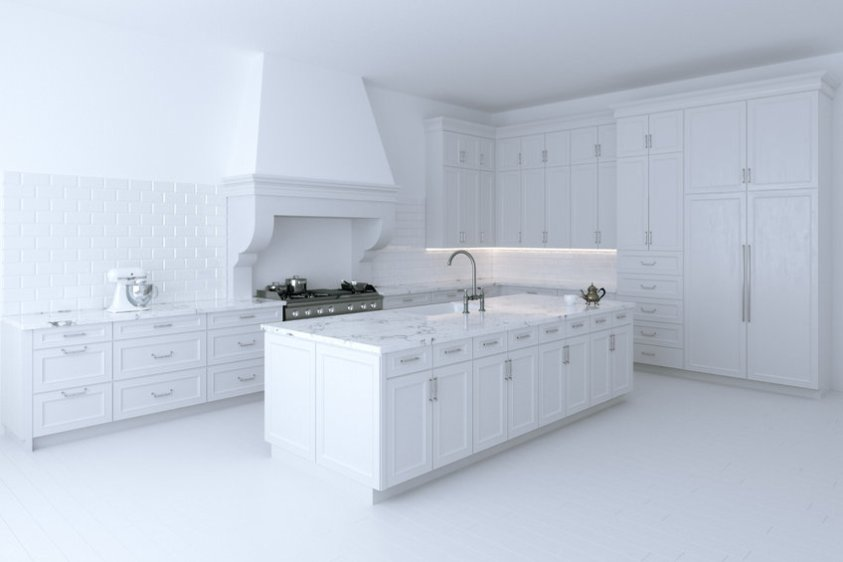 Luxurious white kitchen cabinet with cooking island