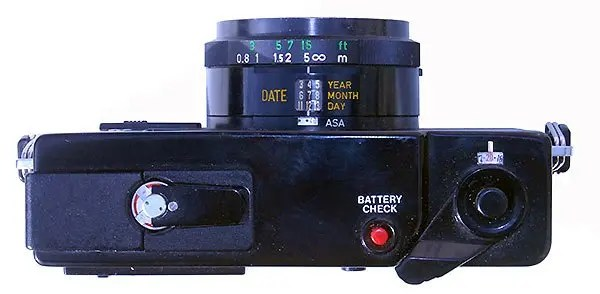 The Canon A35 Datelux is quite modern in appearance.
