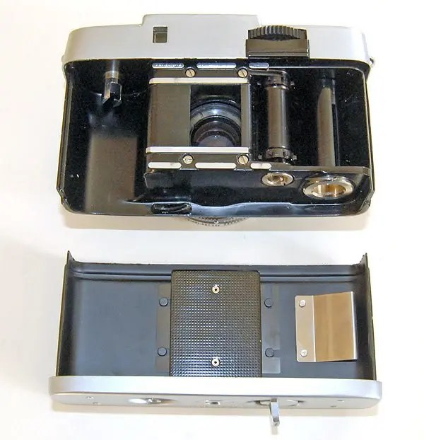 The inside of the Olympus Pen-D. Removing the back can be a bit fiddly.