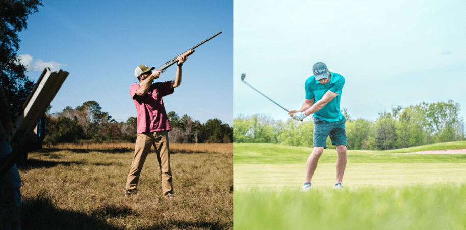 hunter and golfer side by side