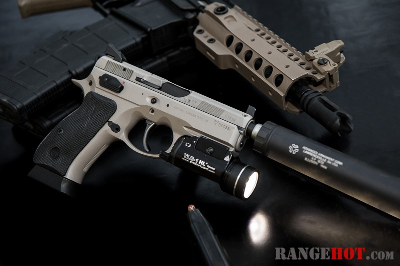 CZ 75B P01 Omega, silencer ready, blurring the carry/duty