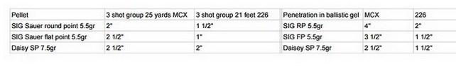 SIG airguns accuracy and ballistics