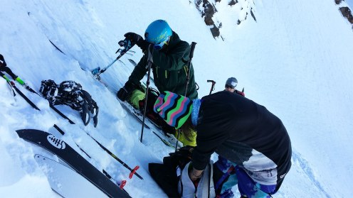 ..skis on the backpack and up we go...