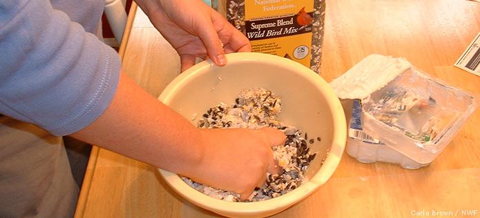 Mixing suet ingredients