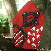 Cardinal painted rock