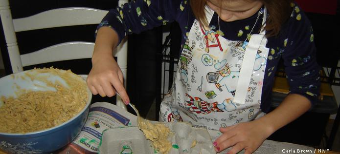 Filling egg carton bird feeder