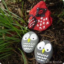 Painted rock birds