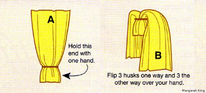 Corn husk doll step 1