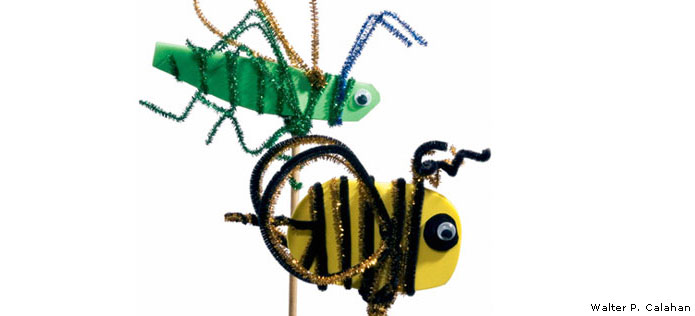 Giant bug stick puppet