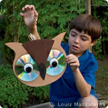 Recycled cd owl