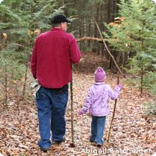 Walking in woods