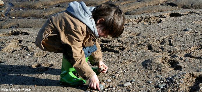 boy picking up rocks