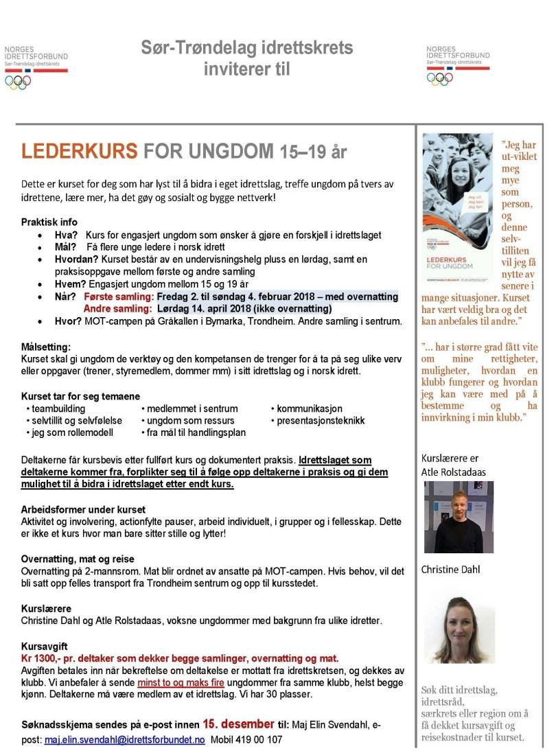 Lederkurs ungdom 2018 - invitasjon