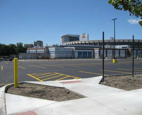 newly resurfaced University of Minnesota Parking Lot