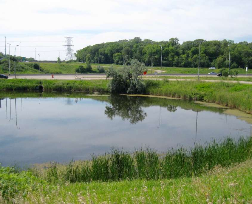 large pond by freeway