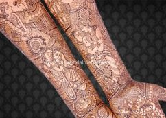 I love the many aspects of the couples' love portrayed in this Harin Dalal mehdni design.