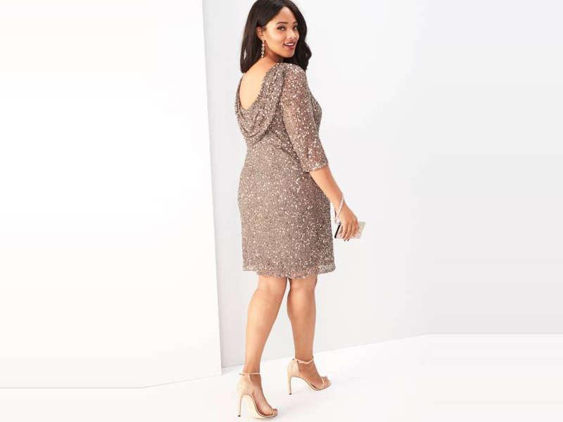 Lark & Ro Pleated-Neckline Sheath Dress