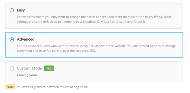 All The Modes In Rank Math Setup Process
